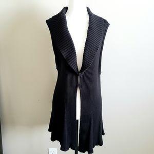 Long XL, Black, Sleeveless Cardigan, vest